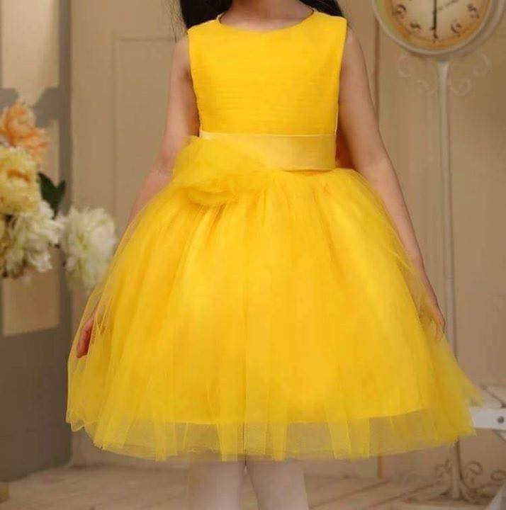 708021b594b0 Baby Yellow Net Frock with Bow - Faash Wear