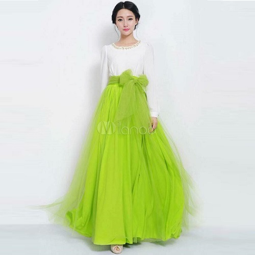 aef5554d90 Parrot Green Bow Skirt & White Top - Faash Wear