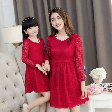 498d131e83 Red Short Frock Mama Daughter Dress - Faash Wear