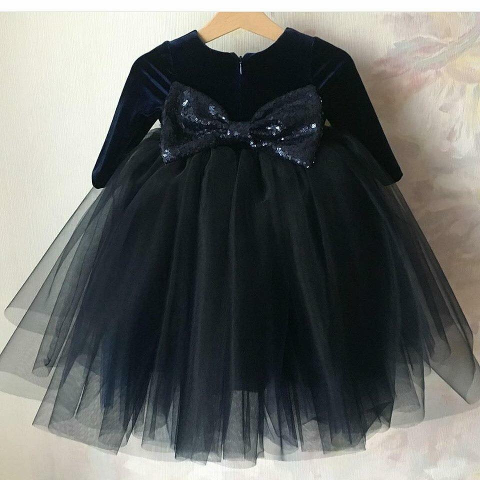 6c0237d079d9 Baby Black Net Frock with Shimmery Bow - Faash Wear