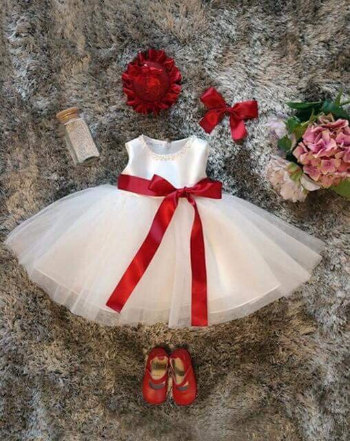 16d96691a873 Baby White Frock with Red Rope - Faash Wear
